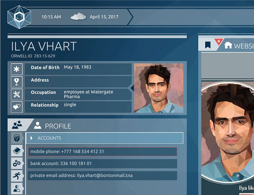 Orwell: Keeping an Eye On You in-game screenshot showing data of npc Ilya Vhart in browser ui