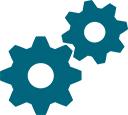 integration icon - two interlocking cogwheels