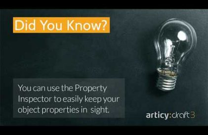 articy:draft 3 did you know? quicktip about using the property inspector to keep overview of object properties