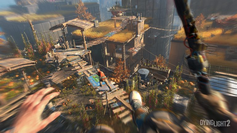 Dying Light 2 screenshot showing first person view of someone jumping towards another person on a makeshift walkway