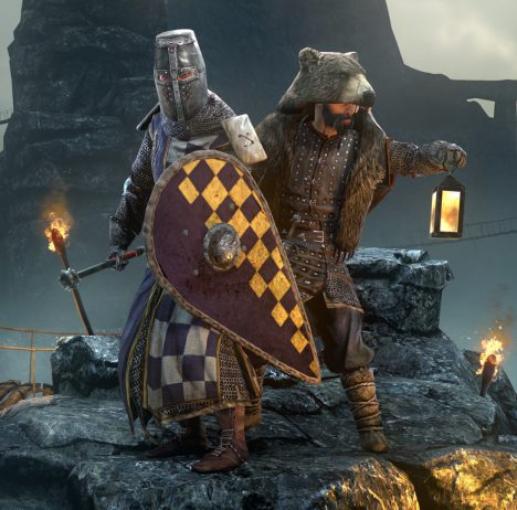 Gloria Victis artwork showing a a knight in full armor and a man wearing a bear pelt