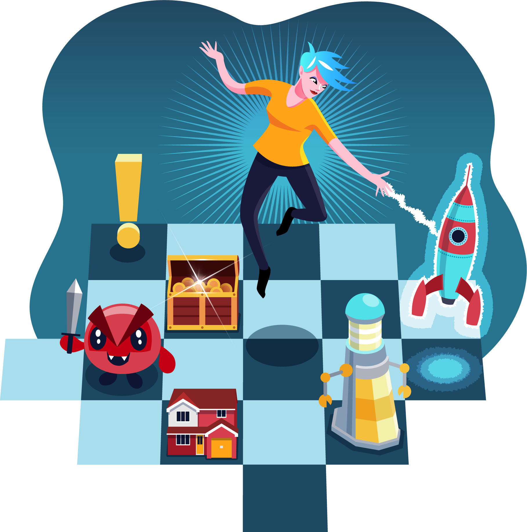 Game Planning illustration - articy avatar moving game pieces on a chess board