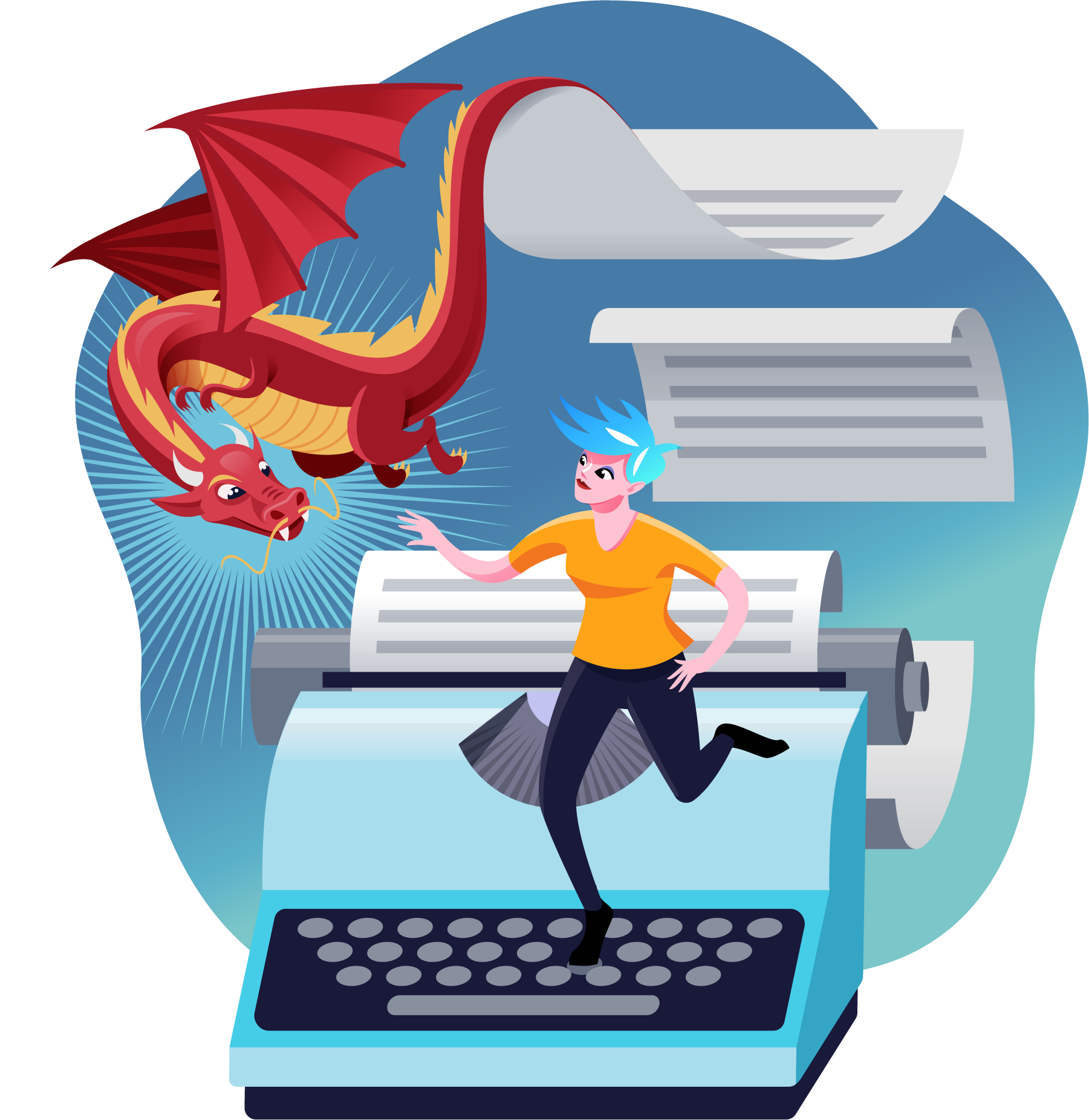 Game Writing illustration - articy avatar standing on a typewriter key looking at red dragon coming to life from story