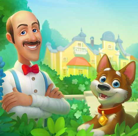 Gardenscapes artwork showing gardener with cute dog