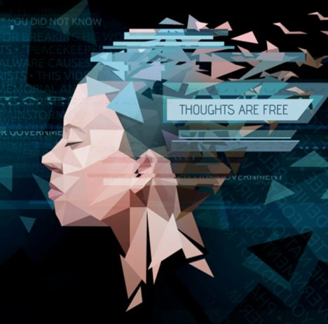 Orwell banner image. Low poly woman's head with the tagline Thoughts are free