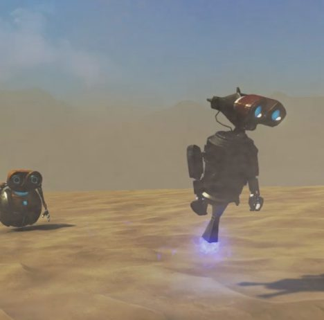 Phoning Home screenshot showing two robots moving through the desert