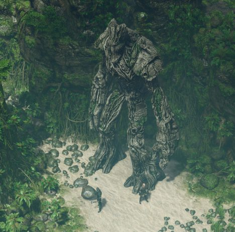SpellForce 3 screenshot - person stands before a huge tree-creature