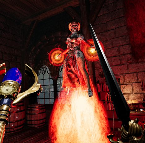 The Soulkeeper VR screenshot showing magic using enemy preparing a spell