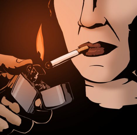 The Detail screenshot showing closeup of a man lighting a woman's cigarette