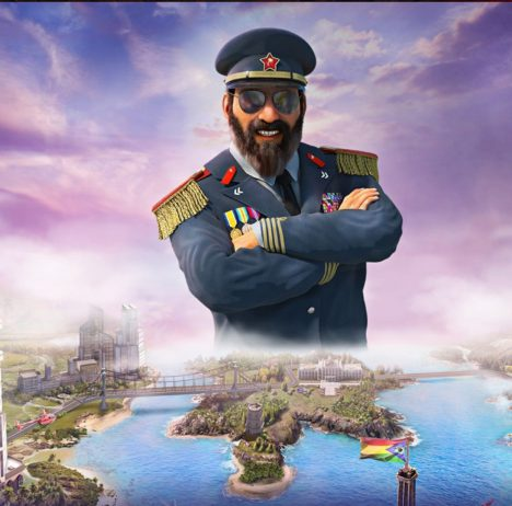 Tropico 6 promotion artwork showing El Presidente larger than life
