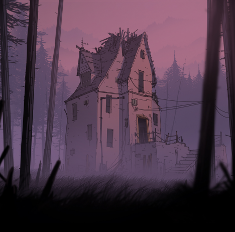 Unforeseen Incidents - artwork run-down house in the middle of a forest