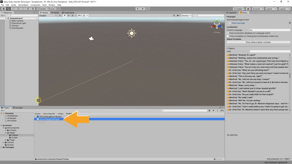 Articy Draft Importer For Unity Debug Flow Player