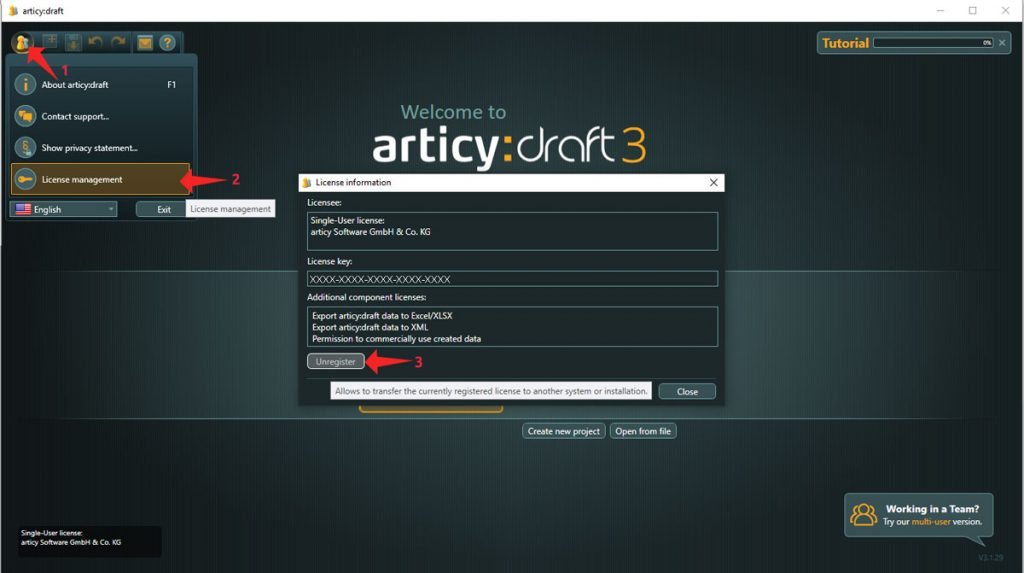 Inapp image of articy draft showing the 3 buttons to click in order to unregister the license