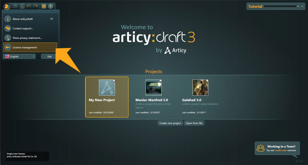 articy:draft start screen bubble menu