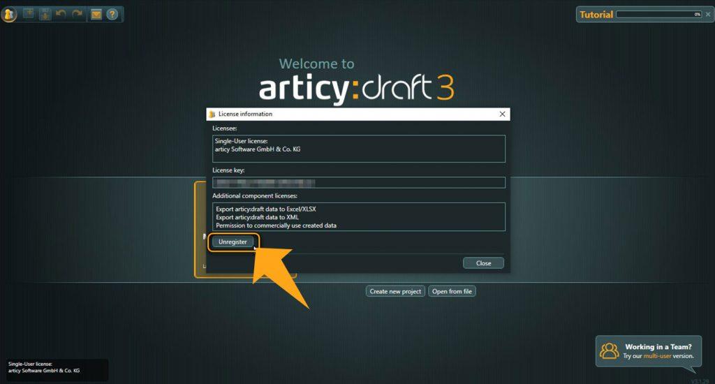articy:draft license management window, unregister button