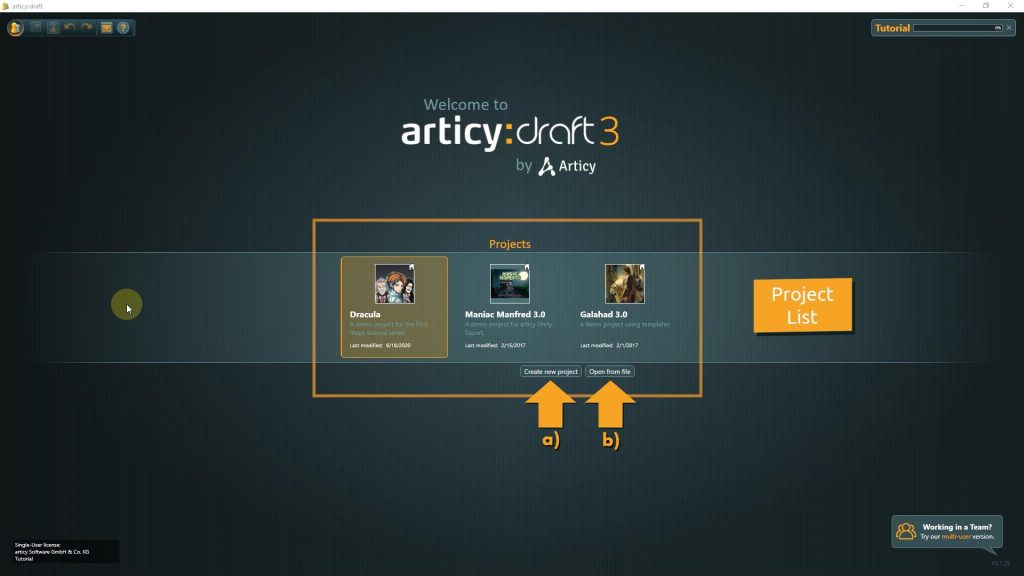 Screenshot in articy:draft main screen showing the project list