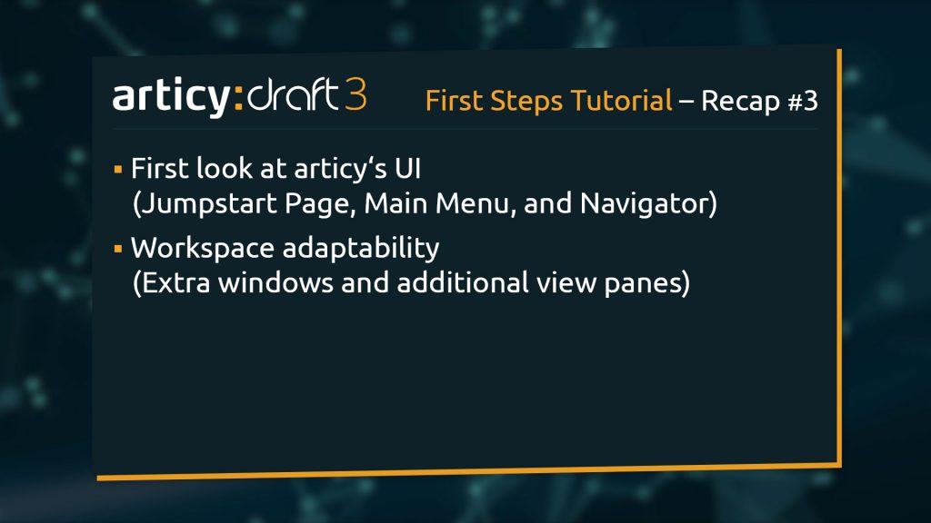 Bullet point list of topics from previous lesson of the articy:draft3 1st Steps Tutorial Series