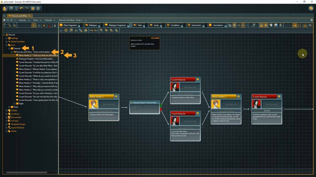 Flow View screenshot with arrows where the tutorial section is expanded