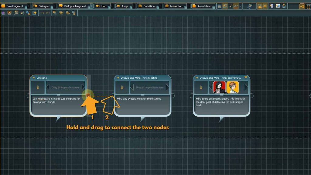 Flow screenshot with added instructions on how to add a connection
