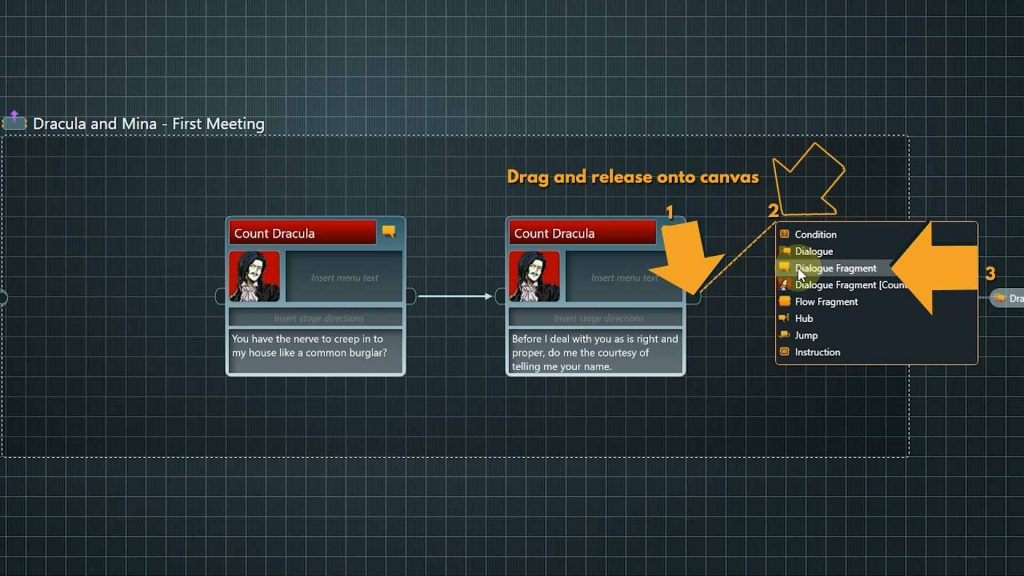 Flow screenshot with instructions on how to add a generic dialogue fragment