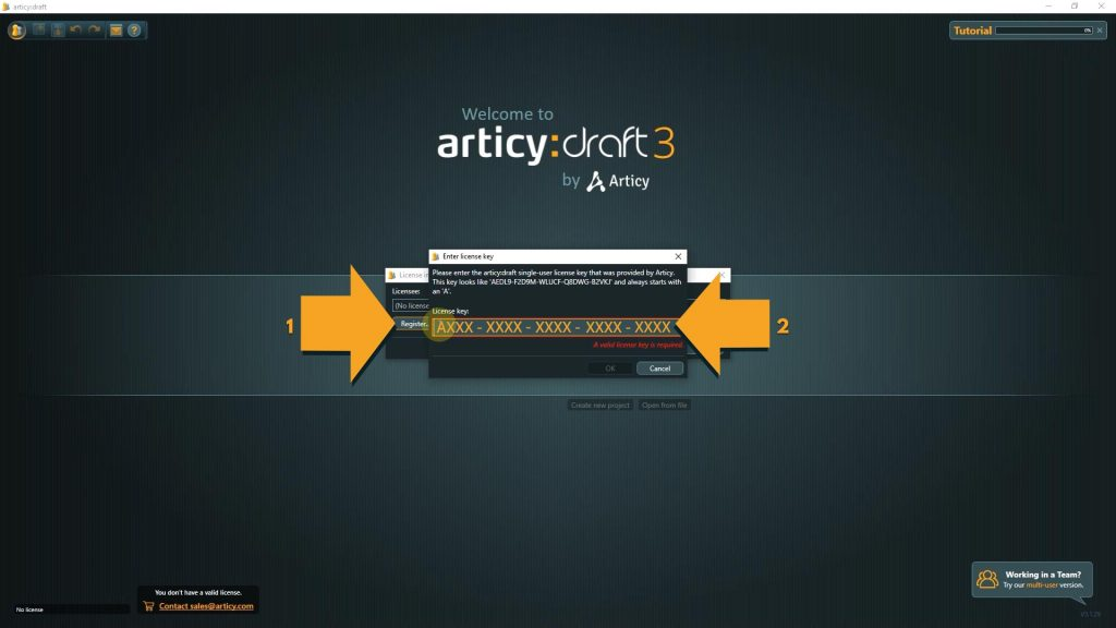 articy draft screenshot with instructions to register the license key