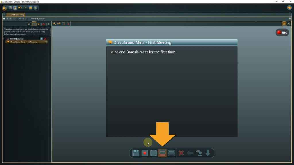 Presentation mode screenshot with arrow pointing to analisys mode button
