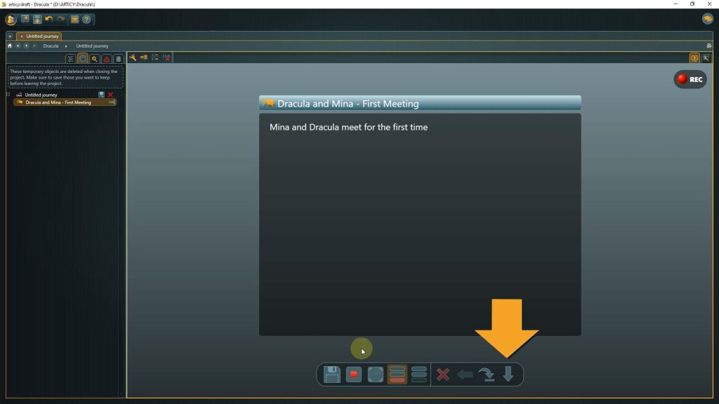 Presentation mode screenshot with arrow pointing to the next button