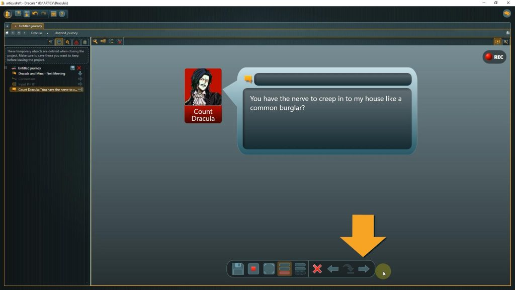 Presentation mode with arrow pointing to the next button
