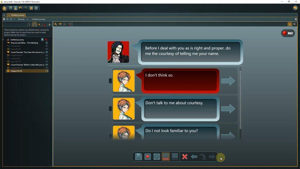 Presentation mode screenshot of a choice point