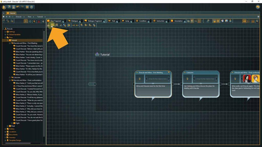 Flow screenshot with arrow pointing towards presentaton mode icon