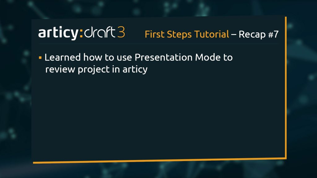 Bullet point list of topics explained in this lesson of the articy:draft 1st Steps Tutorial Series
