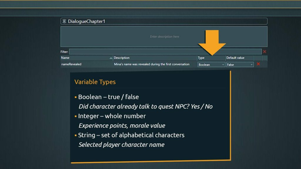 Global Variables Screenshot with overlay explanation for the different types of variables