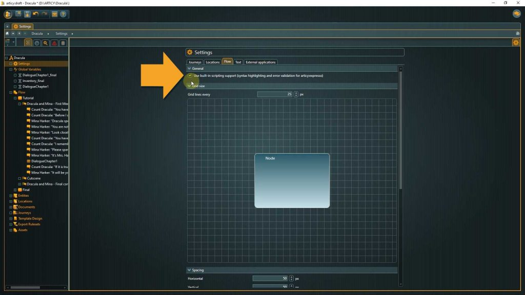 Settings screenshot with arrow pointing to Use Scripting Support Checkmark