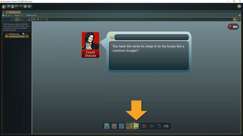 Presentation mode screenshot with instructions on how to select Player Mode