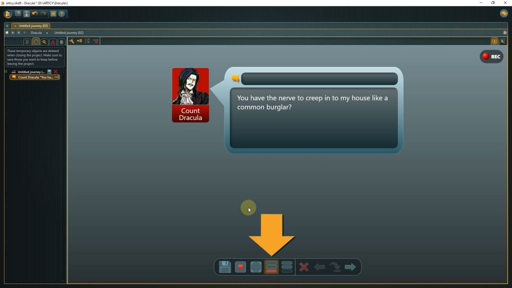 Presentation mode screenshot with arrow pointing to the Analysys Mode