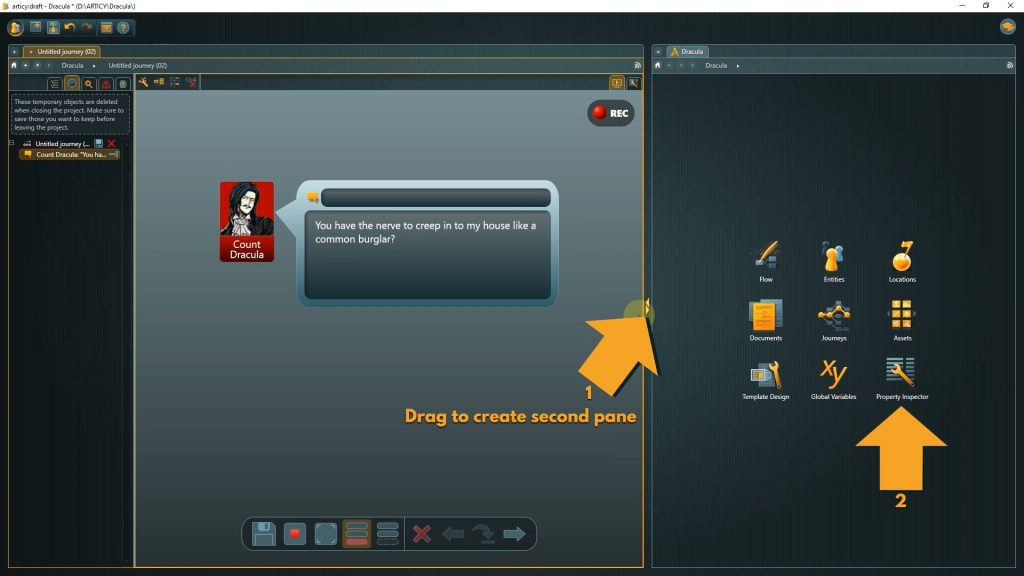 Presentation mode screenshot with instructions to add a new pane and select Propery Inspector