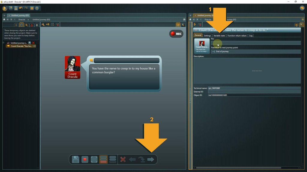 Presentation mode screenshot with instructions to select the variable state tab