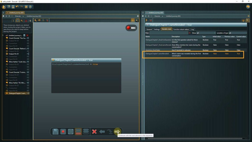 Presentation mode screenshot showcasing the instruction node and variable state updated