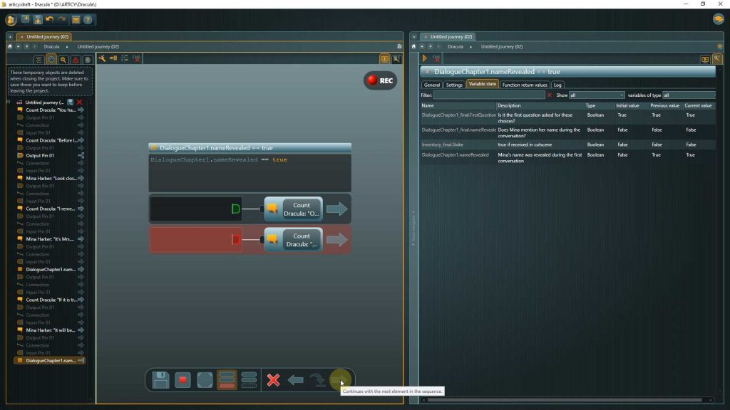 Presentation mode screenshot showing the reaction node displayed