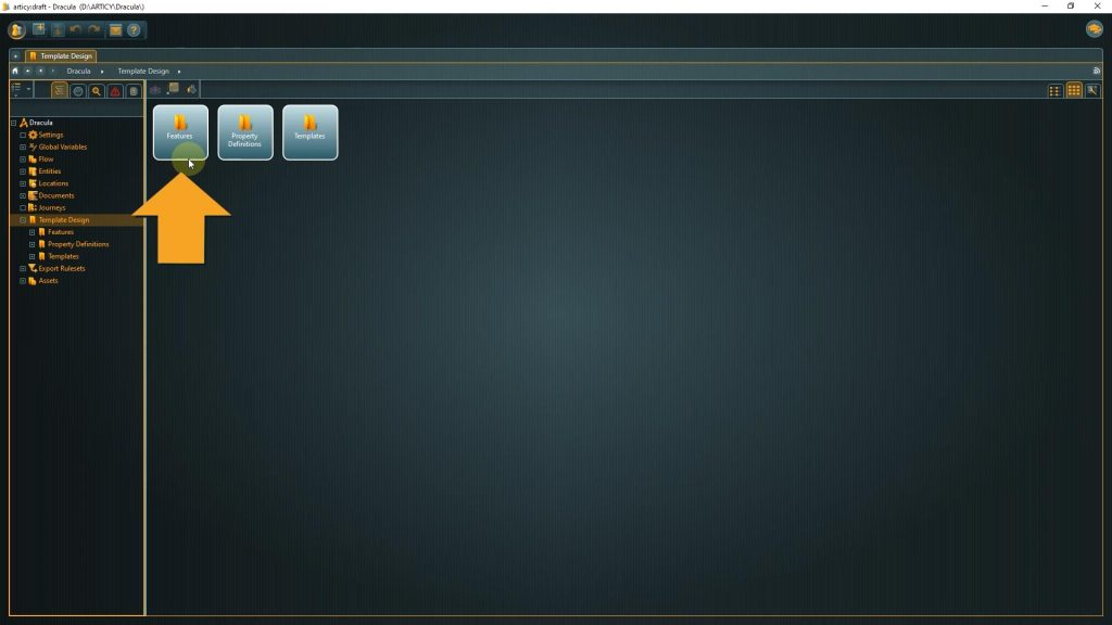 Desing Template screenshot with arrow pointing towards Features