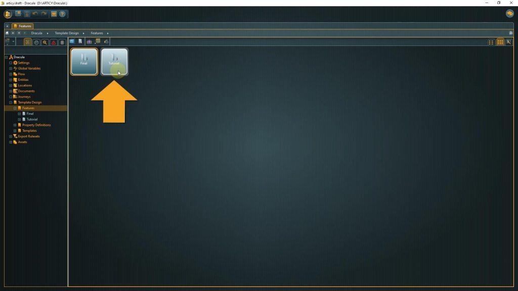 Template Design screenshot with arrow pointing to Tutorials folder