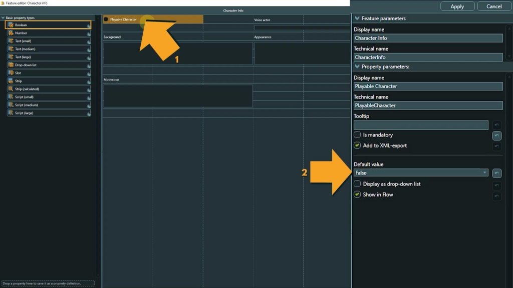 Template Design screenshot of boolean property