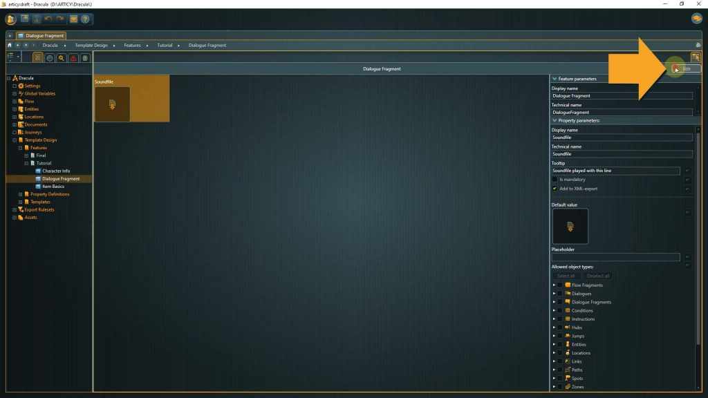 Template Design screenshot with instructions to launch the feature editor