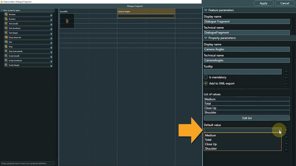 Template Design screenshot with arrow pointing to default value field