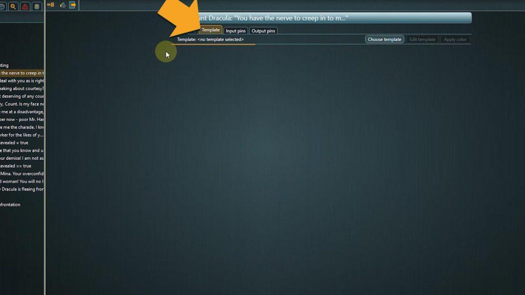 Flow Screenshot of template tab within properties