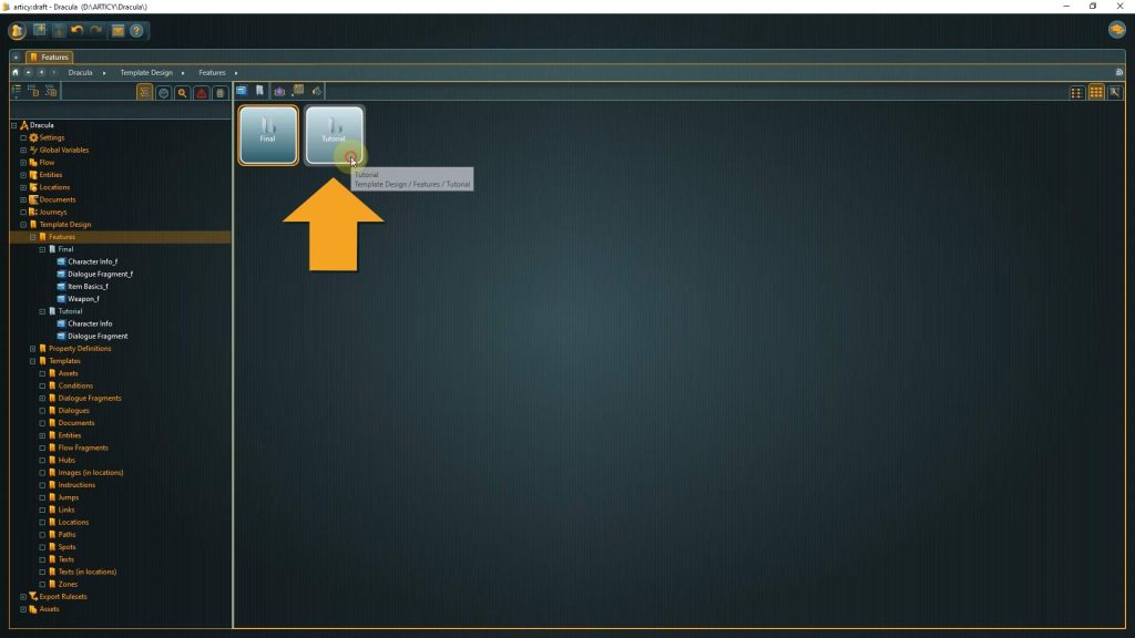 Template Design screenshotw with arrow pointing to the tutorial folder