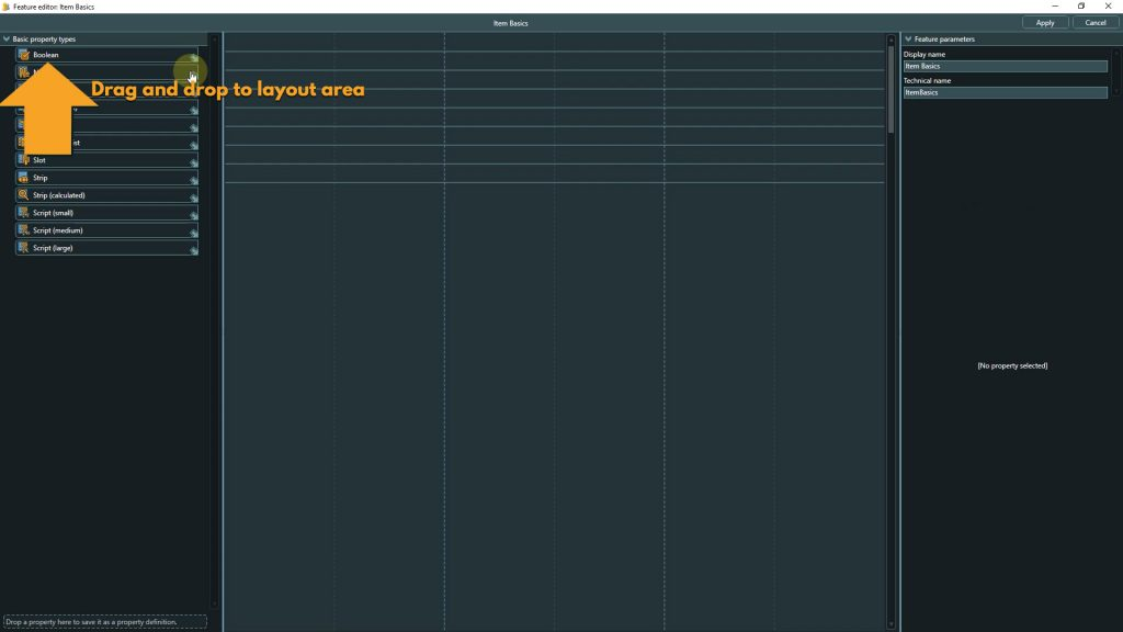 Template design screenshot with instructions to add a boolean property