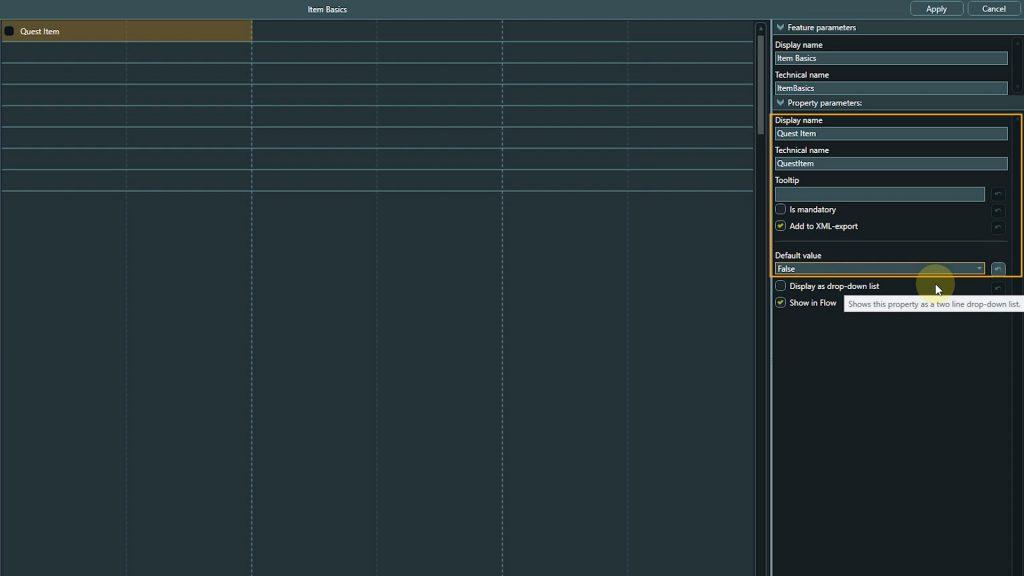 Template Design screenshot highlighting property settings