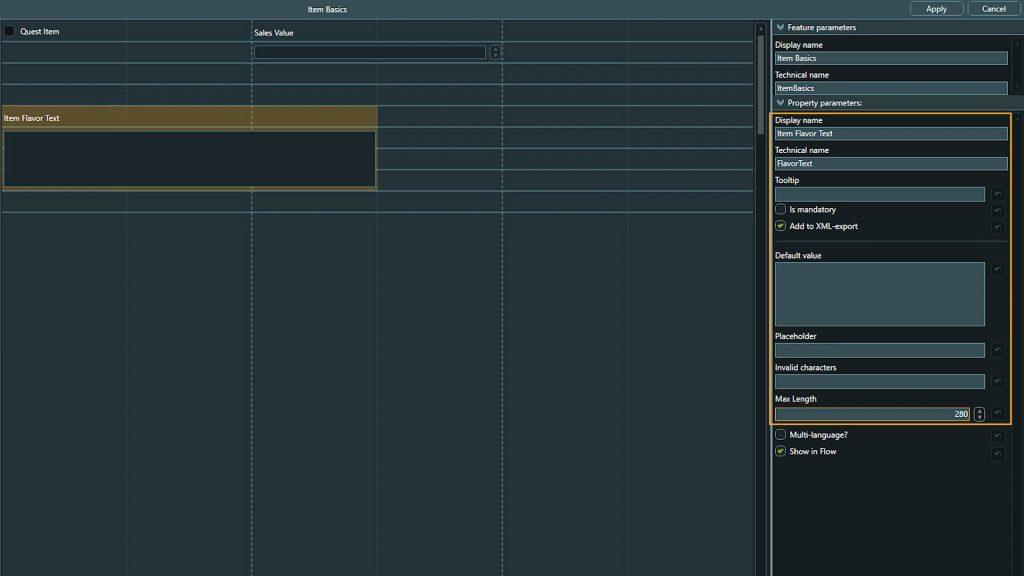 Template Design screenshot of property settings