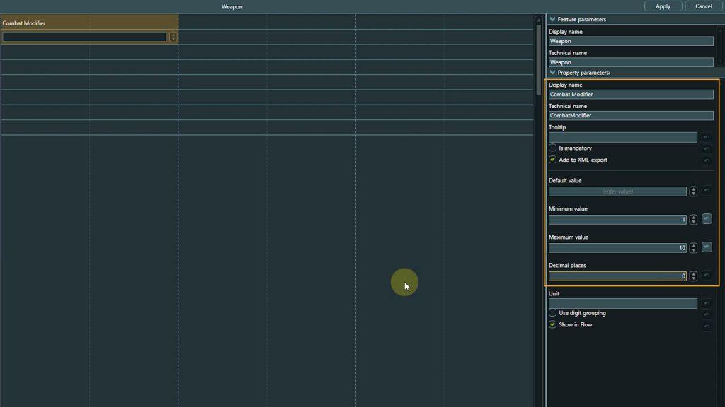 Template Design screenshot of combat modifier property settings